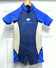 Maui and Sons Kids 3mm Teal Shorty Size Large LG L Scuba Dive WetSuit Youth Blue