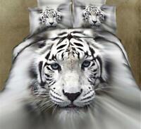 White Tiger 3D Single Double Duvet Set Quilt Bedding Set Design Superior Fabric
