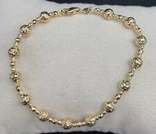 18k Solid Yellow Gold Diamond Cut Beaded Bracelet, 6.75 inches, 3.88 Grams.