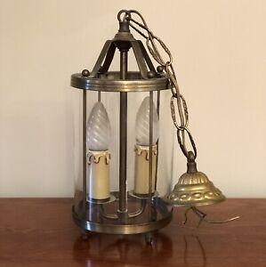 Vintage French Gilt Brass Cylinder Lantern 2 Light Porch Light Pendant