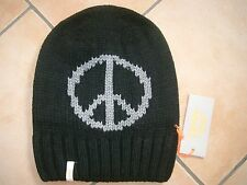 (M34) Grobstrick Mütze FREAKY HEADS Beanie Wintermütze Peace mit Logo Aufnäher