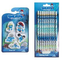 Smurfs The Lost Village - Party Loot Bag Fillers - 10 Pencils & 5 Erasers Set