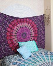 Indian Peacock Mandala Purple Hippie Boho Bohemian Tapestry Bedding Bedspread