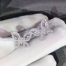 Cute Butterfly Stud Earrings Women 925 Silver Jewelry White Sapphire Jewelry