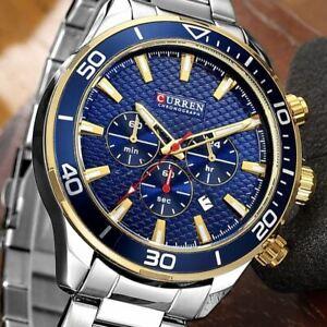 CURREN Luxury Mens Chronograph Automatic Date Stainless Steel Quartz Wrist Watch