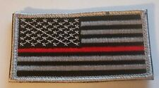 "US FLAG Patch Black and Silver with RED Stripe with Hook/Loop Backing 3.5"" x 2"""