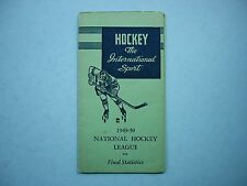 1949/50 IB HOCKEY THE INTERNATIONAL SPORT NHL FINAL STATISTICS BOOKLET SCHEDULE