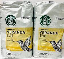 Lot Of 2 Starbucks VERANDA BLEND Whole Bean Blonde Roast Coffee 2.5 LB Each -T