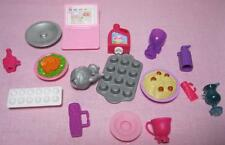 2007 GLAM BARBIE DOLL Vacation BEACH Dream HOUSE Snap Clip On FOOD Dishes lot