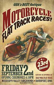 Vintage flat track race cafe racers motorbike racing art print poster USA