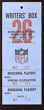 December 26 1977 NFL NFC Playoff Game at Dallas Cowboys Writers Box Pass EXMT