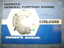 G40RD / G40D B HONDA PORTABLE GENERATOR OWNERS MANUAL PRINTED 1969 G40 D G 40 RD