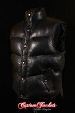 Men's EVEREST PUFFER Black Down Sleeveless Lambskin Leather Gilet Vest Waistcoat