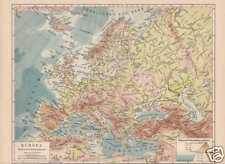 EUROPA Flüsse Gebirge physikalische LANDKARTE von 1888
