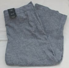 Ladies Marks and Spencer Navy Mix Linen Blend Wide Leg Trousers Size 20