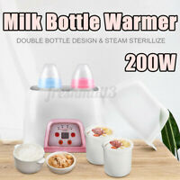 200W Breast Milk Warmer Double Bottle Food Heating Baby Care Steam  AU