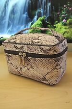 Lancome Snake Pattern Fabric small Makeup CosmeticTrain Case w/ two way zip pull