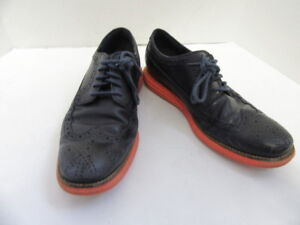 COLE HAAN NAVY BLUE & ORANGE LEATHER WINGTIP OXFORDS SHOES 10M
