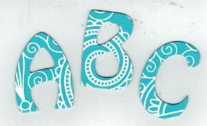 """Turquoise Blue Paisley  """"Hobo"""" Chipboard  Letters 2"""" tall (new font)"""