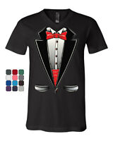 Funny Tuxedo Bow Tie V-Neck T-Shirt Tux Wedding Party Tee