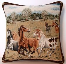 Horses- Running In Open Field, Mixed Colors w/ Bridle Border Tapestry Pillow New