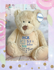 Personalised Embroidered Large Plush Teddy Bear / Lion Baby Boy Girl Gift Birth