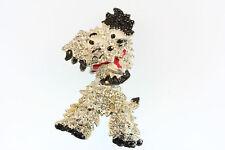 "ADORABLE RETRO DESIGN MOVABLE HEAD DOG BROOCH PIN 2.5"" OLD RHINESTONES"