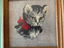 New listing Vintage Grey Kitty Cat with Red Bow Framed Needlepoint Wall Art Decor 7X7