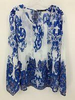 Madison Paige II Womens Blue Ivory Scarf Print Chifon Blouse Plus Size 3X  NWT