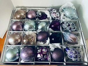 """Frontgate Holiday Collection 20 Glass Ornaments 100mm 6"""" Blue Violet Linen Box"""