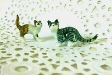 Brown & Striped kitten Cats Ceramic Miniatures Animals Figurines Collectibles