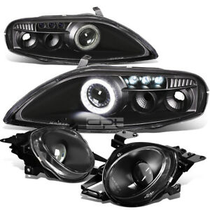 FOR 92-00 Z30 SC300/SC400 BLACK ANGEL EYES PROJECTOR+LED DRL+MAIN BEAM HEADLAMP