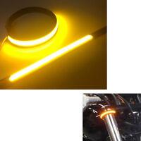 NEW Amber LED Strip Bike Motorcycle Car Fork Turn Signal Indicator Light Blink