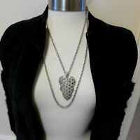 Authentic Vintage Crown Trifari Silver Tone Double Strand Statement Necklace