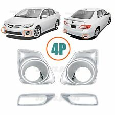 4P Accessories Chrome Front & Rear Fog Light Covers For Toyota Corolla 2011-2013