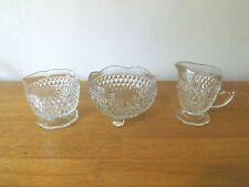 LOT VINTAGE CREAM & SUGAR & BOWL SET-CLEAR/CRYSTAL GLASS-DIAMOND PATTERN