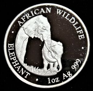 Zambia: 2001 5000 Kwacha 1 OZ. Silver .999 African Wildlife Elephant  Gem Proof.