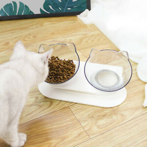 Tilted Pets Feeding Bowl Cat Ears Shaped Transparent Non-slip With Raised Holder