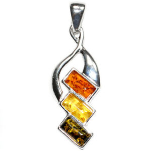 3.6g Authentic Baltic Amber 925 Sterling Silver Pendant Jewelry N-A425