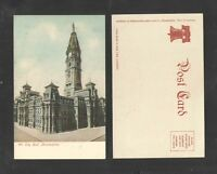 190x CITY HALL PHILADELPHIA PA UDB UNDIVIDED BACK POSTCARD