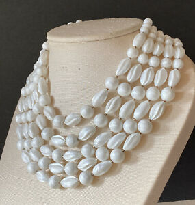 VINTAGE TRIFARI STATEMENT NECKLACE 5 STRANDS OF CARVED WHITE OPALESCENT LUCITE