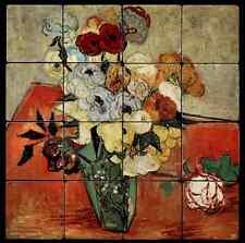16x16 Roses Backsplash Mural Tumbled Marble Tiles Kitchen Ideas Van Gogh