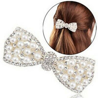 Women Girl Crystal Bow Hair Clip Hairpin Barrette Pearl Hair Accessories uW
