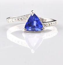 Real 14KT White Gold 1.45Ct Natural Blue Tanzanite EGL Certified Diamond Ring