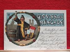 Geprägte Litho - Münchner Kindl - gel 1901 ab München - sehr schön !!    m1
