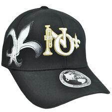 New Orleans Jazz fleur de lis Hat Cap Flex Fit Stretch Top of the World Black