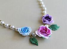 rose flower necklace, handmade airdry polymer clay lifelike rose,lightweight