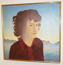 """Italian Girl"" Oil Painting-Inlet & Land Background-16 x 16-1979-August Mosca"