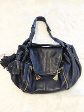 See by Chloe Blue Leather Shoulder Bag Purse with Gold Hardware and Side Tassel