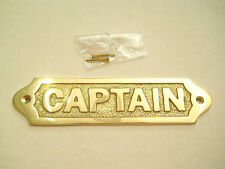 Nautical Maritime Decor Collectible Solid Brass Captain Wall Plaque Or Door Sign